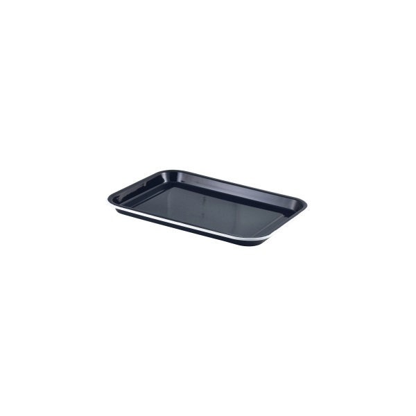 Enamel Serving Tray Black with White Rim 33.5x23.5x2.2cm - Pack of 4
