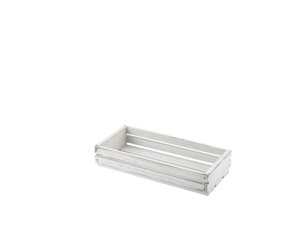 Wooden Crate White Wash Finish 25 x 12 x 5cm
