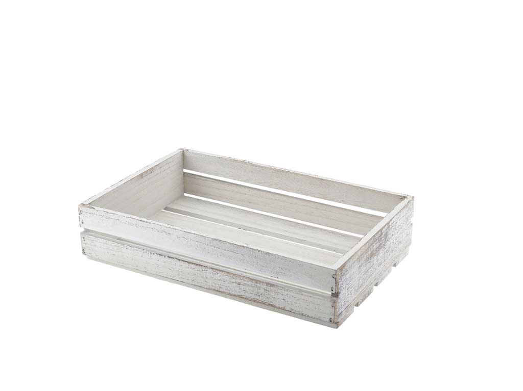 Wooden Crate White Wash Finish 35 x 23 x 8cm