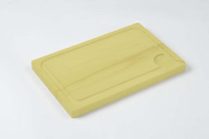 Beech Wood Board with Groove & Well 300 x 225 x 25mm Sunflower Yellow