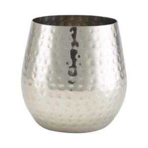 Stainless Steel Hammered Stemless Wine Glass 55cl
